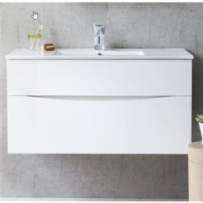 Bauhaus Glide II Ceramic Basin & Gloss White Unit 100mm DE0004SCW & GL1000DWG+
